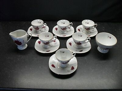 STUNNING BONE CHINA FLORAL ESPRESSO COFFEE SET VINTAGE RETRO