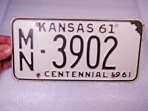 Original vintage 1961 KANSAS Centennial License Plate-MARION COUNTY