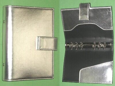 Compact 1.0 Silver Faux Leather Day Runner Planner Binder Franklin Covey