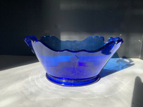 Vintage LE Smith Cobalt Blue Mt Pleasant Depression Glass Bowl