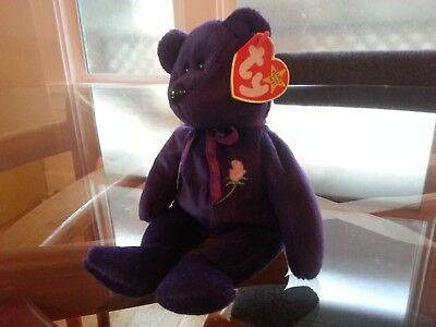 'Princess' Princess Di Memorial Teddy Bear Ty Beanie Baby - MINT - RETIRED