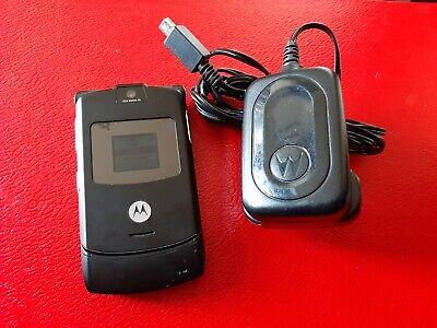 Motorola RAZR V3 - Black (Orange) Mobile Phone Rare Flip phone