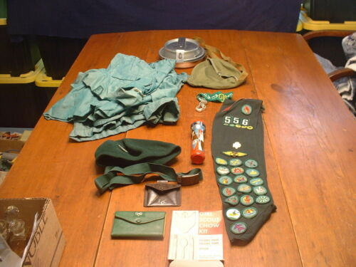 Lot of Vintage Girl Scout Memorabilia Uniforms,Sash,Belt,Light,Camping Equip Etc