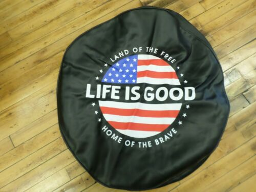 "Tire Cover Life Is Good Land of Free Home of Brave Circle USA Flag Black 30"" NEW"