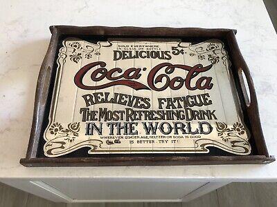 """Vintage Delicious Coca~Cola Relieves Fatigue Mirror Wood Tray Sign 16""""X11.5"""""""