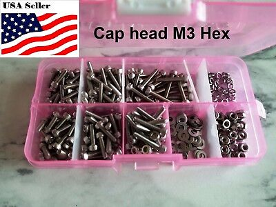 300 Qt M3 Stainless Steel Hex Socket Screws Bolt With Hex Nuts Washer Assortment