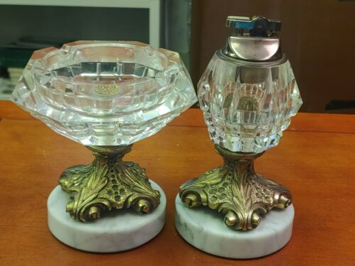 Vintage Brass & Crystal Table Lighter & Ash Tray On Marble Base