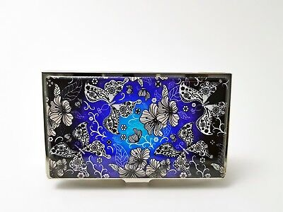 Business Card Case Holder Mother of Pearl Flower Butterfly Korean Classic