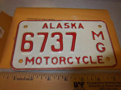 Alaska Motorcycle License Plate numbered 6737, NEW and Unused, expired in 1976