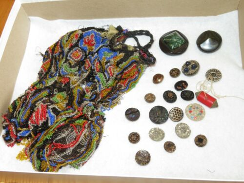 Vintage Beaded Purse Glass Sewing Buttons Castle & More (T631)