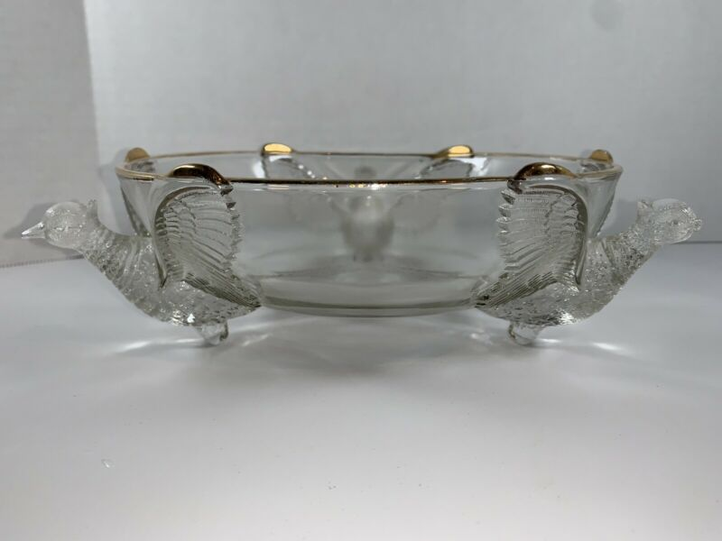 3 Footed Clear Glass Pheasant Bowl With Gold Trim