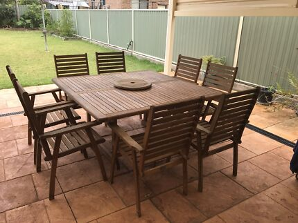 Outdoor timber table and 8 dining chairs