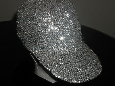 SILVER SEQUIN BASEBALL CAP HAT MARDI GRAS CHRISTMAS GIFT  ENTERTAINER!  NEW!](Sequin Baseball Hat)