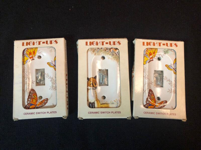 Vintage Jasco Ceramic Light Switch Wall Plates 1 Fox & 2 Butterflies 3 Total