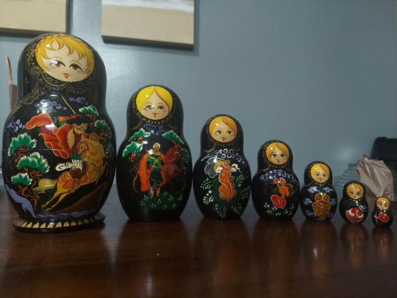 Vintage Russian Matryoshka Nesting Dolls Hand Painted SIGNED 7 pc