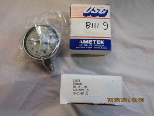 """Qty. 2 New USG Ametek Vacuum Gauges 154690 30psi, 1/4 ANPT LM, 3"""""""
