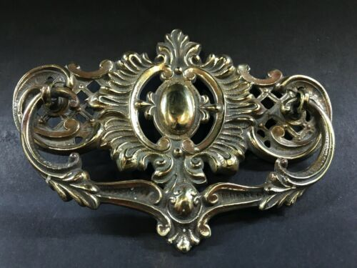 Vintage Antique Large Brass Drawer Handle Pull