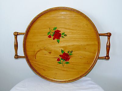 Vintage Mid Century Round Wood Wooden Tray with Handles & Roses Birds Eye Maple