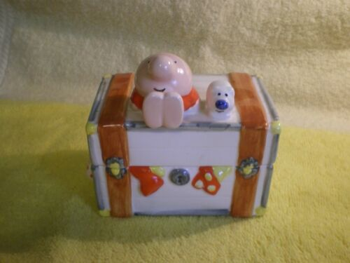 """ZIGGY & FUZZ FRIENDS CERAMIC TRAVEL TRUNK  4"""" TRINKET BOX 1980 FR/SHP"""