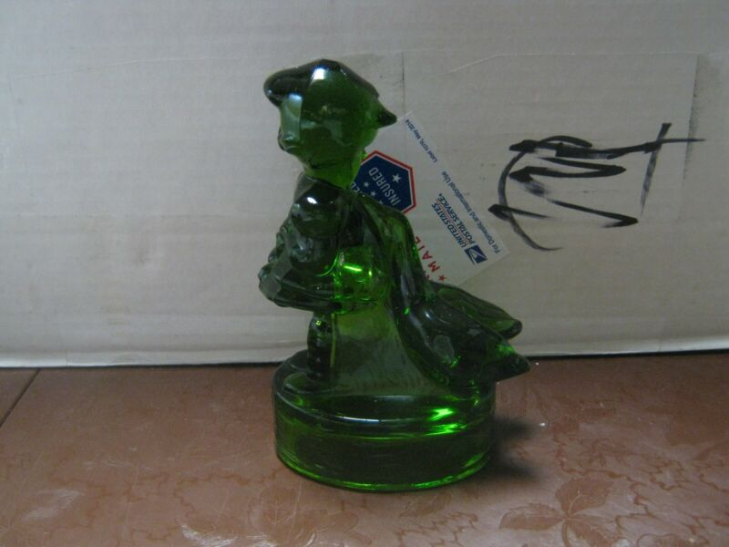 "Green Glass ""Goose Girl"" Figurine 6""T x 3 1/2""W Unmarked Excellent Condition"