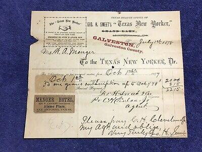 1878 Billhead TEXAS NEW YORKER Galveston Tx Menger Hotel Ad CSA Col Geo H. Sweet