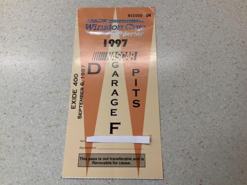 1997 Nascar Winston Cup Series Exide 400 Garage / Pit Racing Pass  - $15.00