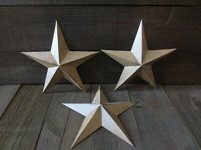 """Set of 3 Country Tan Primitive 14"""" inches Barn Stars Rustic Wall Decor Tin Metal"""