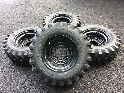 4 New Camso 12-16.5 Skid Steer Tireswheelsrims For John Deere More- Black