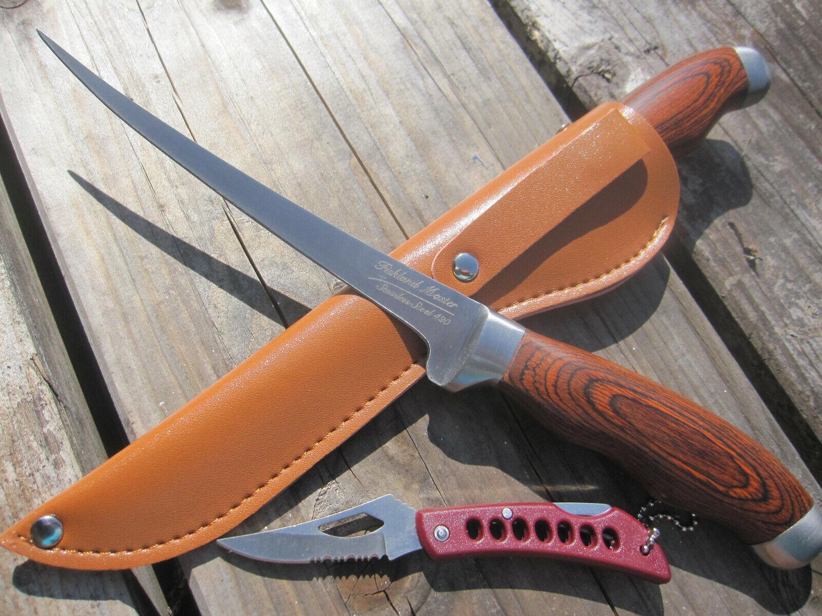 2 in 1 Fiskland Yad Filetiermesser Filiermesser Angel Messer + Taschenmesser