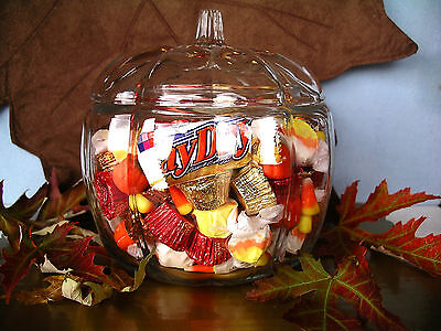 Candy Bowl (NEW Anchor Hocking LARGE GLASS PUMPKIN JAR w/ Cover Halloween Candy Bowl)
