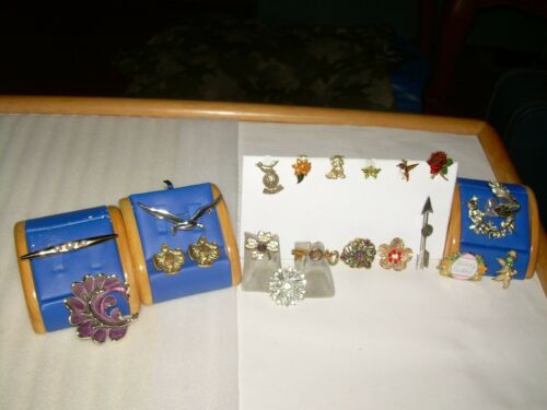 Vintage Lot Of 20 Brooches/Tack Pins, Silver & Gold Tone, Rhinestone, Enamel