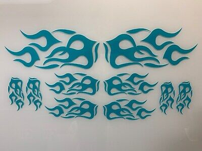 Motorcycle/Wheelchair/Auto/Truck Vinyl Graphic Flame Kit - GLOSS TEAL for sale  Independence