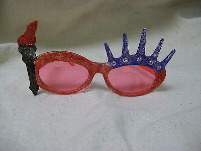 Glitter Patriotic Statue Liberty Sunglasses USA Fun 4th July Costume Glasses BBQ