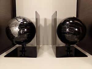 serre livres globe terrestre mappemonde noir gris ebay. Black Bedroom Furniture Sets. Home Design Ideas