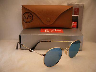 Ray Ban 3447N Round Metal Shiny Gold w Light Blue Mirror (RB3447N 001/9O 50)