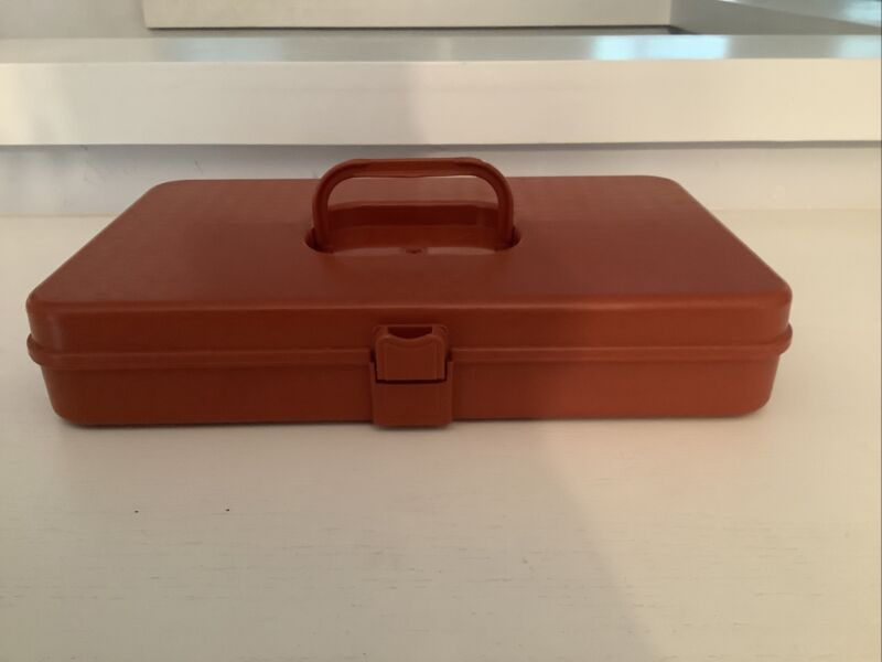 Vintage Wilson Wil-Hold Paprika Red Plastic Sewing Threads & Bobbins Case