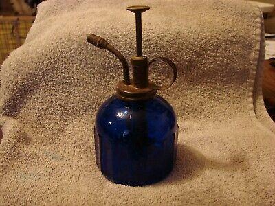 vintage cobalt blue glass misting pump atomizer for plants or personal use Cobalt Blue Glass Pump