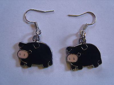 Ohrringe mit schwarzem Schwein Ferkel Schweinchen  aus Email 2289