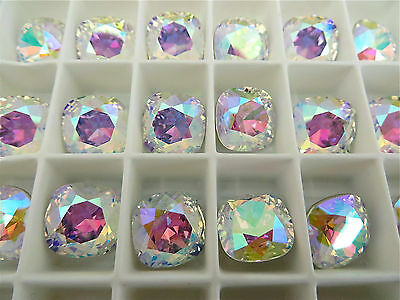 - 4 Crystal AB Swarovski Crystal Square Cushion Cut  Stone 4470 12mm