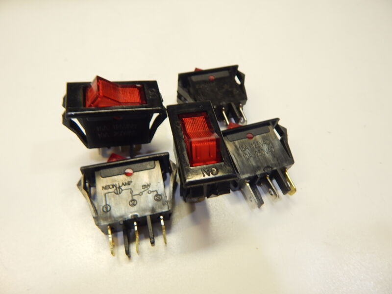 RED LAMPED ROCKER SWITCH 120VAC 15 AMP - YOU GET 5 PIECES