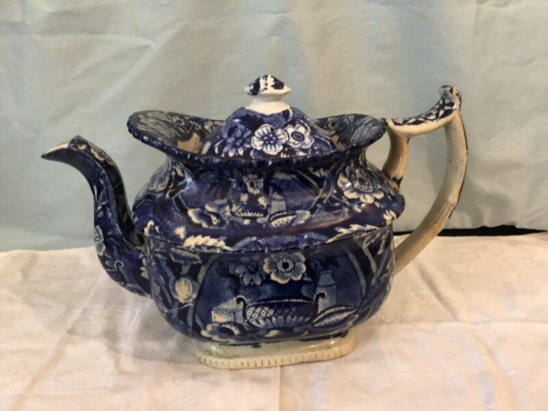 Antique Dark Blue Staffordshire Teapot C. 1825