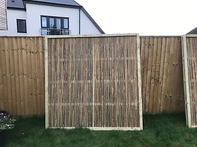 Bamboo Cane Framed Garden Fence Panel 6ft x 6ft Screening Fencing Wooden Wood