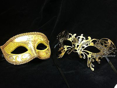 Butterfly Gold Masquerade mask set couple Dress up Mardi Gras Costume Prom Party - Couple Party Costumes