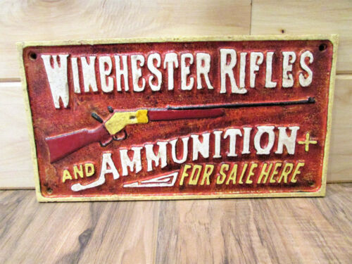 New Rustic Cast Iron Winchester Rifles and Ammunition Sign Plaque Man-Cave Cabin