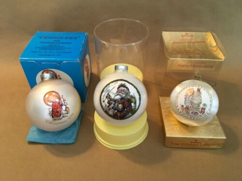 3 1975 / 76 Glass Christmas Ornaments : Schmid Hummel, Corning Glass, Hallmark