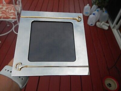 VINTAGE 1970'S GUCCI PICTURE FRAME HORSE EQUESTRIAN STIRRUPS SILVER PLATE ITALY