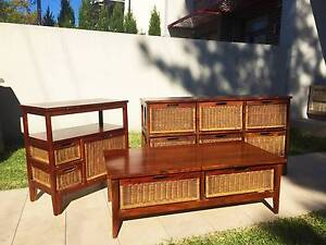Wicker set: coffee table, dresser, console Petersham Marrickville Area Preview