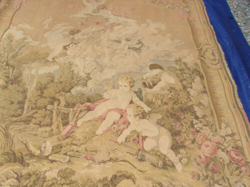 """EARLY TO MID 19TH ELEGANT ANTIQUE TAPESTRY CUPIDS DOVES ROSES 78"""" T X 52 1/2"""""""