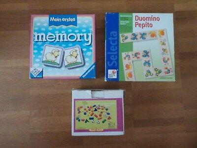 Spiele SET Ravensburger Memory ~ Selecta Domino und Fädelspiel aus Holz (Holz Domino Set)