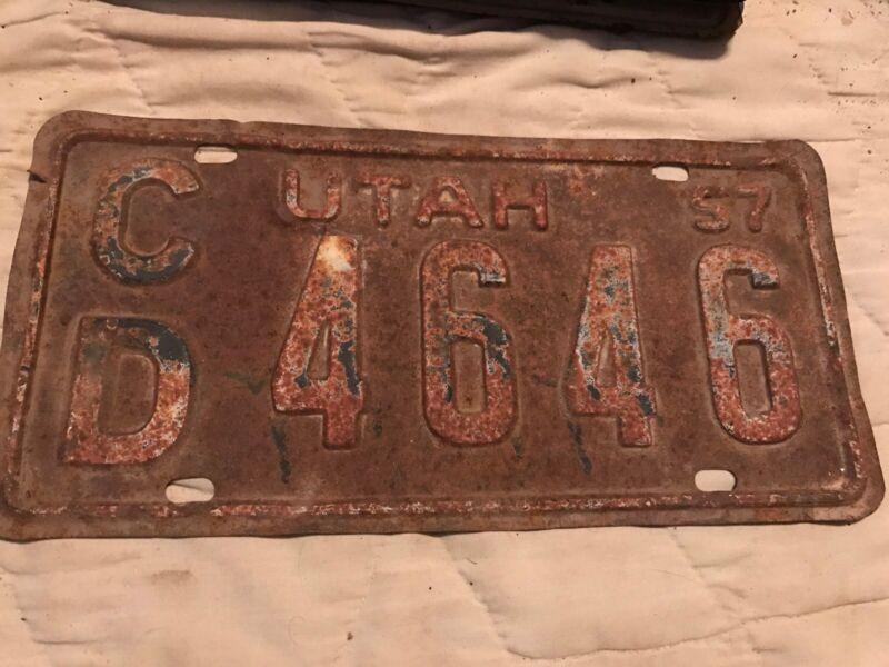 1957 Utah License Plate CD 4646